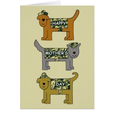 Mother's Day cute dogs in military camouflage. Card