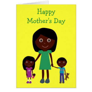 Mothers Day Cute Ethnic Cartoon Characters Card