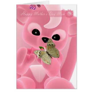 Mother's Day Cute little pink skunk with butterfly Card