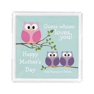 Mothers Day - Cute Owls Acrylic Tray