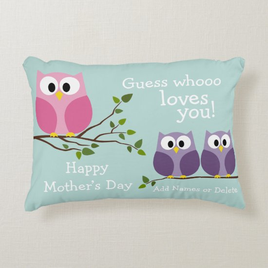 Mothers Day - Cute Owls Decorative Pillow