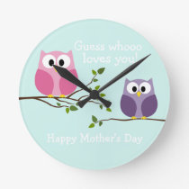 Mothers Day - Cute Owls Round Clock