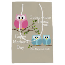 Mothers Day - Cute Owls - Whooo loves you Medium Gift Bag