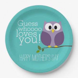 Mothers Day - Cute Owls - Whooo loves you Paper Plate