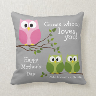 Mothers Day - Cute Owls - Whooo loves you Throw Pillow