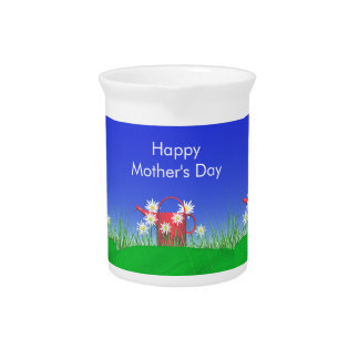 Mothers Day Daisies and Watering Can Drink Pitcher