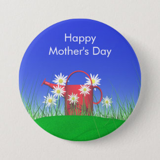 Mothers Day Daisies and Watering Can Pinback Button
