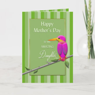 Mother's Day, Daughter, Tropical Bird Fuchsia Card