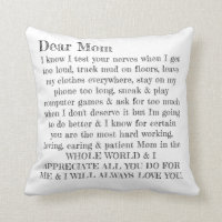 Mother's Day Dear Mom Typography Letter Pillow