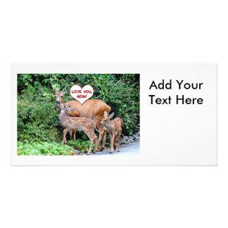 Mothers Day Deer Family Custom Photo Card
