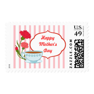 Mother's day design with carnations and teacup postage