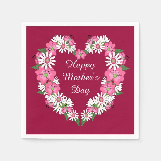 Mother's Day Floral Heart Paper Napkins
