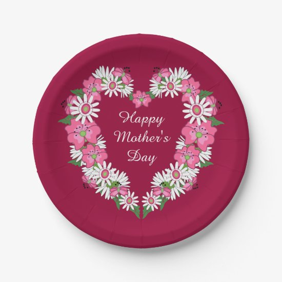 Mother's Day Floral Heart Paper Plates