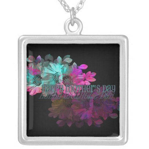 Mothers Day - Floral Reflection Square Pendant Necklace