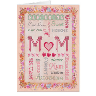 Mothers Day Floral Typography Greeting Card