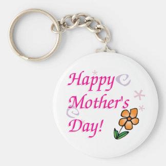 Mothers Day Flower Basic Round Button Keychain
