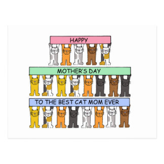 Mother's day for best cat Mom ever. Postcard
