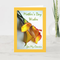 Mother's Day for Cousin, Calla Lilies Card