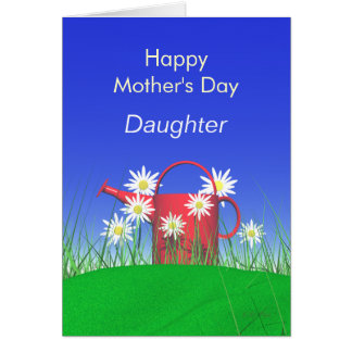 Mothers Day for Daughter Daisies and Watering Can Card