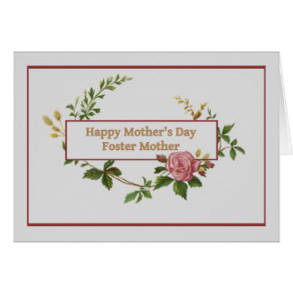 Mother's Day for Foster Mom, Vintage Rose Greeting Card