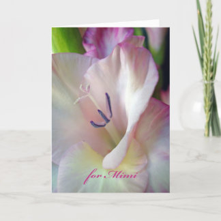 Mother's Day for Mimi, Pink Gladiolus Flower Card