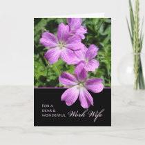 Mother's Day for Work Wife, Cranesbill Geraniums Card