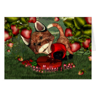 Mother's Day Fox with strawberries and garden Card