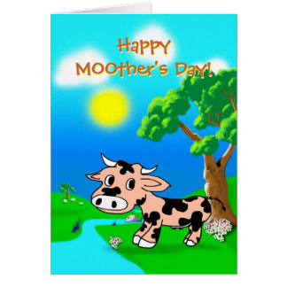Mothers Day from Pink Princes with cow and whale Card
