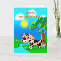 Mothers Day from Pink Princes with cow and whale Holiday Card