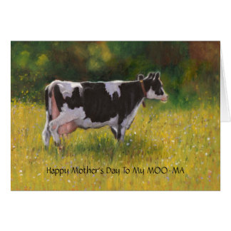 Mother's Day: Funny Pun, Cow Painting, Moo-ma Mama Card