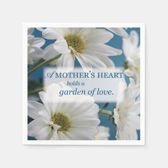 Mother's Day Garden of Love, Daisies, Blue Sky Napkin