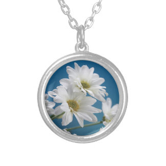 Mother's Day Garden of Love, Daisies, Blue Sky Silver Plated Necklace
