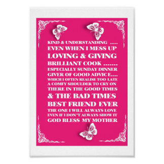 Mothers Day Gift Pink Typography Poster Print Sent