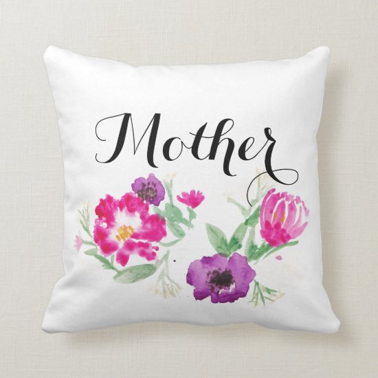 Mother's Day Gift Watercolor Flowers Pillow