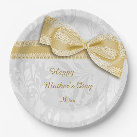 Mother's Day Gold Damask and Faux Bow Paper Plate