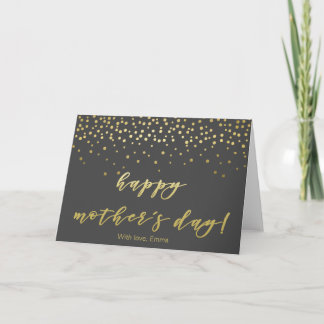 Mother's Day - Gold Script & Confetti Personalized Card