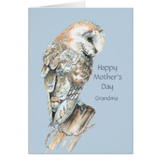 Mother's Day Grandma Humor Barn Owl Bird Card
