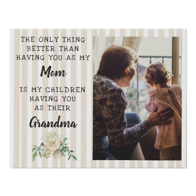 Mother's Day Grandma Photo Gift Faux Canvas Print