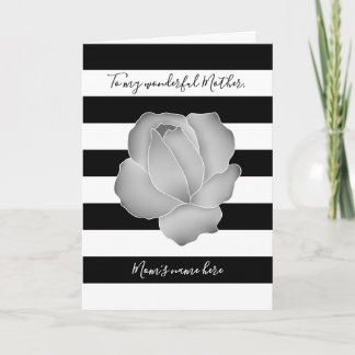 Mothers Day gray rose and black and white stripes Card