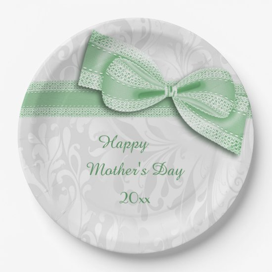 Mother's Day Green Damask and Faux Bow Paper Plate