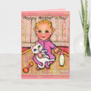 Mother's Day Greeting Card With Baby Girl - A purr-fectly sweet design for Mommy's of Baby Girls on Mother's Day. This is original artwork by Jamie Wogan Edwards.
