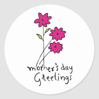 Mother's Day Greetings Classic Round Sticker