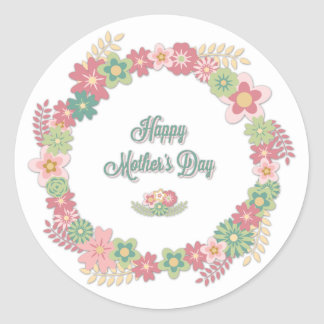 """Mother's Day-""""Happy Mother's Day"""" - Floral Wreath Classic Round Sticker"""