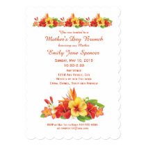 Mother's Day Hawaiian Hibiscus Brunch Invitation