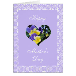 Mother's day heart and pansies greeting card