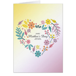 "Mothers Day Heart Flowers Card (5"" x 7"")"