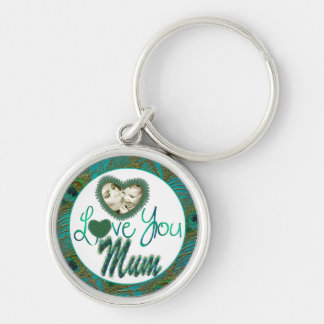 Mother's day heart framed photo decorated keychain