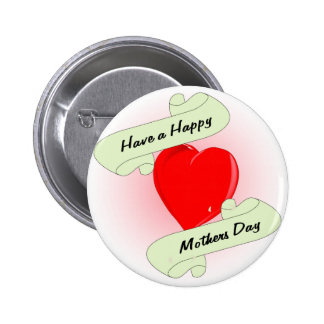 Mothers Day Heart Pinback Button