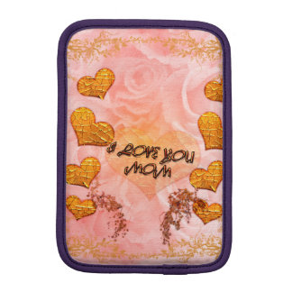 Mother's day, hearts and roses in soft colors iPad mini sleeve
