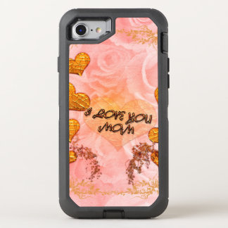 Mother's day, hearts and roses in soft colors OtterBox defender iPhone 7 case